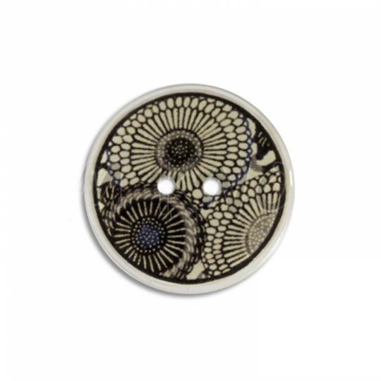 Jim Knopf Bouton coco, motif fleur écrue 23mm