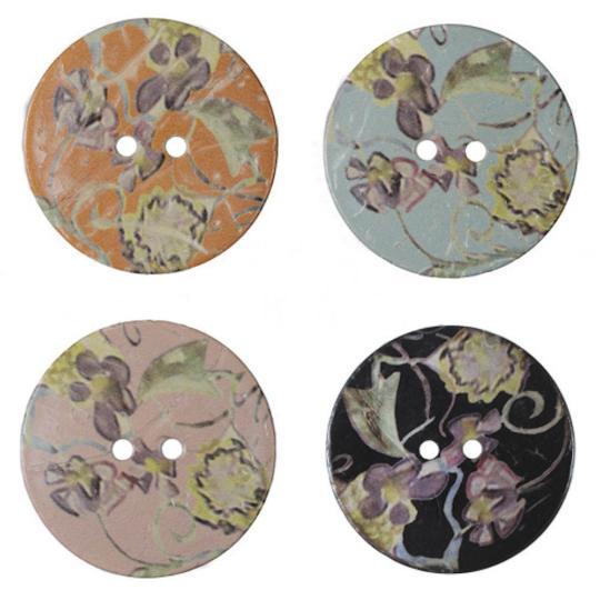 Jim Knopf Gros boutons en coco motif fleurs 40mm