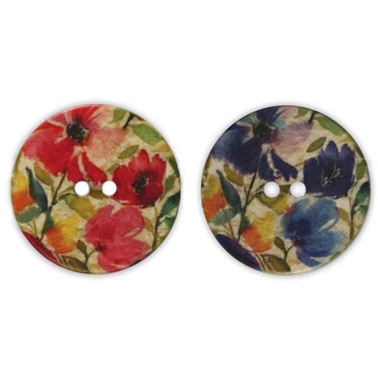 Jim Knopf Bouton résine motif fleurs 18 ou 23mm