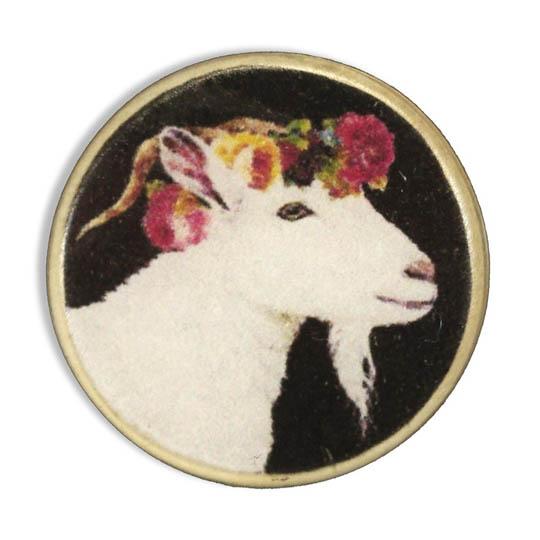 Jim Knopf Bouton résine, chèvre fleurie 23mm